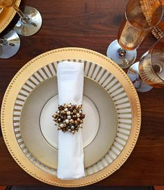 @sugarfree73's fall tablescape is stunning! Styled with our Luna Dinnerware and Jewel Cluster Napkin Rings.