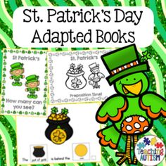 This pack includes 10 different sentence building / adapted books all related to St Patrick's Day theme. This is a great resource to use with students who may have autism / spec ed needs. The books come in differing abilities so that you can differentiate for individual abilities. 6 books come in b/w and col option, 4 books come only in col option.The books include; What col Leprechaun? - two symbols How many objects? - two symbols How many col Leprechauns? - three symbols I can see objects…