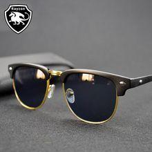 Negro clásico hombres Sunglasses mujeres gafas Ray diseñador De la marca De lujo del Metal gafas De Sol femeninas Glases gafas De Sol Feminino con la caja