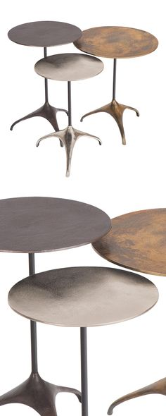This set simply makes our jaws drop. The Monaco Nesting Tables is an exquisitely industrial trio made from iron and aluminum, with eye-stealing distressed effects. Melding traditional elegance with ava...  Find the 3-Pc. Monaco Nesting Tables, as seen in the Industrial Iridescence Collection at http://dotandbo.com/collections/industrial-iridescence?utm_source=pinterest&utm_medium=organic&db_sku=116482
