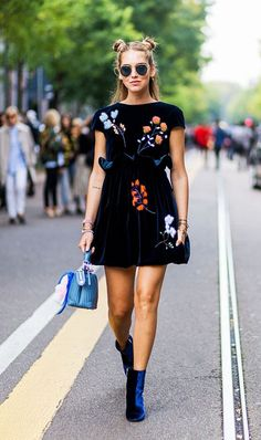 Chiara Ferragni wearing velvet booties and a floral dress