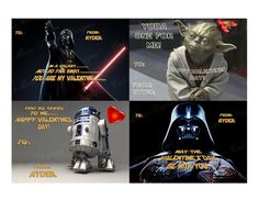 Star Wars Valentine Printable Cards (Four On a Sheet), Personalize & Print as Many As You Like!