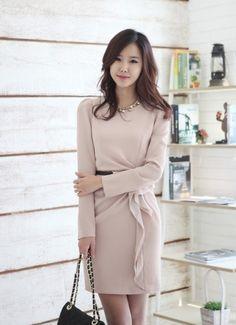 Long Sleeve Clothing Women Autumn New Style Korean Style OL Fashion Slim Beige Cotton Dress M/L/XL @WH0427be