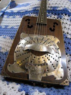 Kurt Schoen Guitar Music Instruments Diy, Guitar Musical Instrument, Homemade Instruments, Steampunk Guitar, Guitar Crafts, Cutlery Art, Ziggy Played Guitar, Resonator Guitar, Guitar Shop