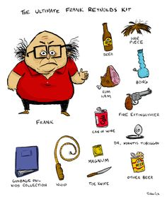 The Ultimate Frank Reynolds Kit from TV's It's Always Sunny In Philadelphia. Danny Devito is hilarious as Frank. RUM HAM!