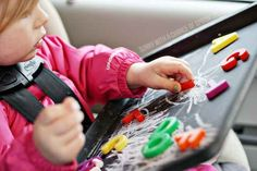 One more for road trips — paint a baking sheet with chalkboard paint to make a chalk and magnetic activity board.