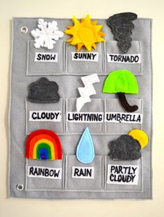 Weather Matching Quiet Book Page by ThreadAndStich on Etsy