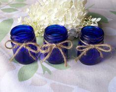 Set of Round Vintage Cobalt Blue Jars