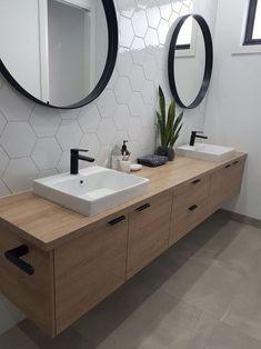 Home Interior Modern Downstairs bathroom idea - single sink though.Home Interior Modern Downstairs bathroom idea - single sink though Farmhouse Bathroom Mirrors, Bathroom Mirror Design, Modern Bathroom Tile, Wood Bathroom, Downstairs Bathroom, Bathroom Renos, Bathroom Interior Design, Bathroom Renovations, Bathroom Pink
