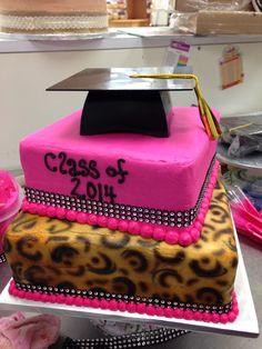Cheetah graduation cake