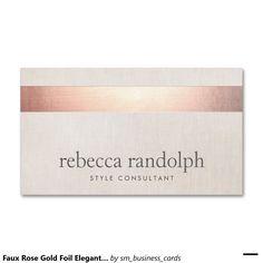 Faux Rose Gold Foil Elegant Modern Beige Linen Double-Sided Standard Business Cards.   Artwork designed by Maura Reed