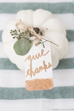 Anyway, enough rambling, let's jump into this Thanksgiving place setting + diy gold glitter tags. I'm so happy with how beautiful these tags turned out, and with how simple they were to make. You can use them to personalize your Thanksgiving place settings like I did, or attach them to Christmas presents!