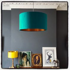 Brushed copper lined lampshade in bright teal #lovefrankie #lampshades