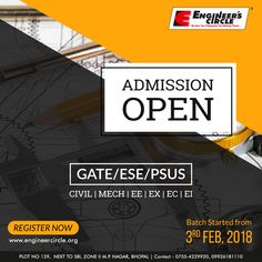 #AdmissionsOpen for #Gate #ESE #PSUs. New Batches started. #EnrollNow  For more information contact: Engineer's Circle, PLOT NO. 129, NEXT TO STATE BANK OF INDIA, ZONE II M.P. NAGAR, BHOPAL.   PHONE NO: 0755-4229920, 09926181110   ravigupta@engineercircle.org School Brochure, Bank Of India, Gate, Engineering, College, Phone, Design, University, Telephone