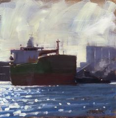 "Daily Paintworks - ""Tanker and tug"" - Original Fine Art for Sale - © Kathy Weber"