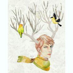 Winter man3 : deer boy and missing autumn  #illustration #deer #drawing #winter #birds #watercolor #autumn #digitalart #일러스트 #일러스트레이션 #드로잉 #그림