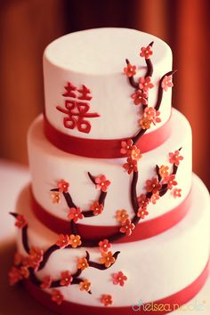 cherry blossom wedding cake by Peridot Sweets