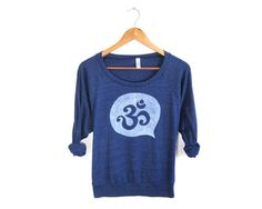Om Ohm HAND STENCILED Slouchy Tri Blend Heather by twostringjane