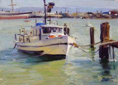 Lifegaurd Boat, Aquatic Park, SF by Brian Blood Oil ~ 9 x 12