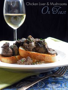 Chicken livers and mushrooms on toast.