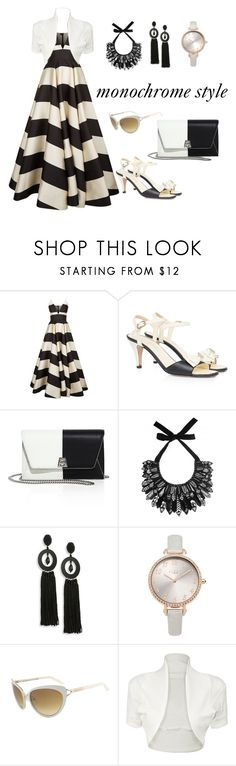 """""""monochrome outfit"""" by noviandri-ronal ❤ liked on Polyvore featuring La Mania, Chanel, Akris, Forest of Chintz, Oscar de la Renta, Lipsy, Tom Ford and WearAll"""