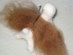 Needle felting tutorial: Adding long fur to needle felted dogs