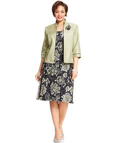 Le Bos Plus Size Floral-Print Dress and Jacket