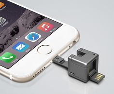 Wondercube. This tiny, 1-inch cube could save your phone's life. It offers Lightning & USB connection, a slot for a micro SD card, an LED flashlight, & even a port to plug in a common 9-volt battery when your phone is about to die & plugs or power supply are not available.