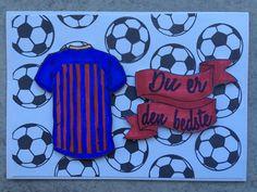 Kort med stemplerne Stjernespiller Bolde En kærlig hilsen Bannere fra NHH Design. kortet er lavet af Solveig Heldt