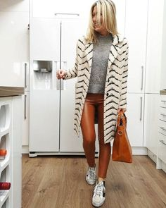 Abi wears brown pants and sneakers | 40plusstyle.com How To Wear Leggings, Best Leggings, Brown Pants, Outfit Of The Day, Fall Outfits, Trousers, Winter, Clothes, Dresses