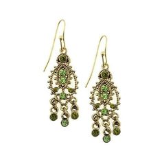 1928 Gold-Tone Peridot Color Crystal Grecian Earrings (€14) ❤ liked on Polyvore featuring jewelry, earrings, accessories, crystal earrings, gold tone earrings, filigree jewelry, crystal clip earrings and crystal jewelry
