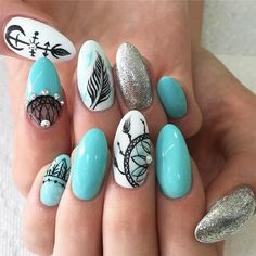 33 Ideas with Dream Catcher Nail Art Dream catcher nail designs with glitter accent. We have a photo gallery featuring cute and symbolic nail designs with a dream catcher. You have probably seen it in souvenir stores. Have you wondered about its origins, Feather Nail Designs, Feather Nail Art, Diy Nail Designs, Simple Nail Designs, Beautiful Nail Designs, Summer Acrylic Nails, Summer Nails, Cute Nails, My Nails