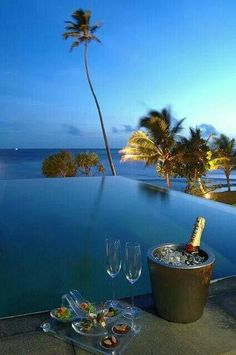champagne by the pool...