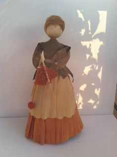Vintage knitting corn husk doll by jenbraughler on Etsy, $40.00