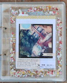 I love this idea of confetti sewn into a page protector around a photo!