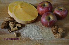 zucca, mele annurche, zucchero, mandorle, cannella e zenzero, pumpkin, apples, sugar, almonds, cinnamon, ginger