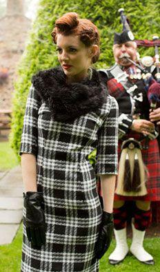 1960s Shetland Black and White Plaid Dress $88.00