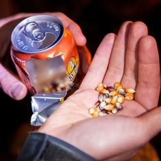 Check out this DIY Beer Can Popcorn recipe.  This looks mildly hilarious.