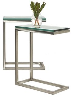 snack table | ... Steel with Glass Top- contemporary glass stainless steel snack table