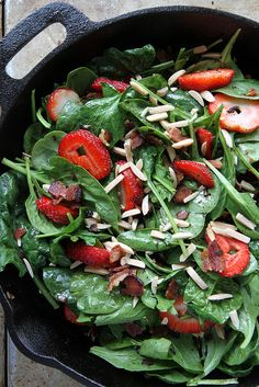 Hot Spinach and Strawberry Salad with Bacon by Heather Christo, via Flickr