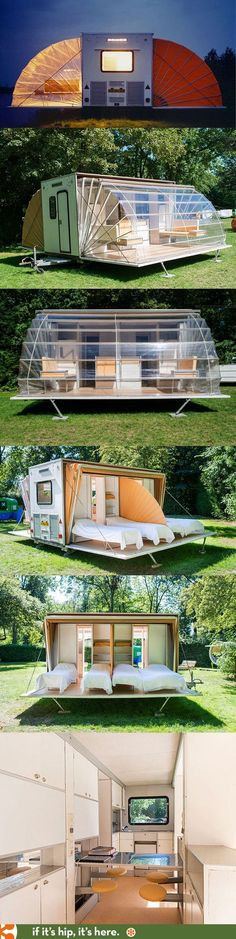 The Urban Campsite's Coolest Caravan, The Marquis by Eduard Bohtlingk. The Marquis Caravan at the Urban Campsite is the coolest mobile camping gear ever. Sleeps 4 and is available to rent. Details at the link. Rv Living, Tiny Living, Outdoor Living, Tyni House, Casas Containers, Camping Hacks, Camping Gear, Camping Equipment, Camping Site