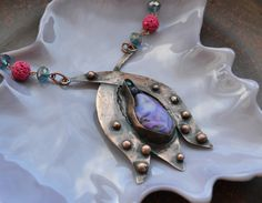 Copper pendant flower with purple stone by TanyaKolyada on Etsy