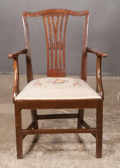 """Chippendale mahogany armchair with pierced splat back, needlepoint seat on straight legs with canted corners and stretchers, c.1830, 23"""" wide, 17"""" deep, 37"""" high"""