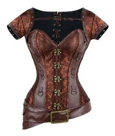 276303a7eb1 Charmian Women s Spiral Steel Boned Goth Retro Overbust Steampunk Bustier  Corset Brown Medium This Brocade Corset Features Faux Leather Panels with  Large