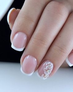 The Best Wedding Nails 2021 Trends ❤ wedding nails trends nude french with flowers salon_glyanec_saransk #weddingforward #wedding #bride #weddingnailstrends #weddingbeauty Nude Nails, Nail Manicure, White Nails, Manicure Ideas, Nail Ideas, White Nail Designs, Simple Nail Designs, Nail Art Designs, Wedding Manicure