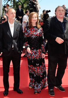 Cannes 2015 - Guillaume Nicloux, Isabelle Huppert in Valentino and Gérard Depardieu - Day 10 (montée des marches La Vallée de l'amour)