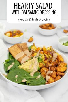 Dig into a healthy hearty, protein-packed salad with a creamy tahini -balsamic dressing that will keep you satiated all afternoon. #vegan #healthylunch #wfpbrecipes #veganweightloss