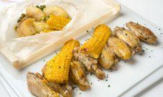 Receta de Alitas de pollo con maíz y su guarnición