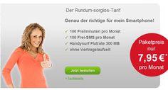 100 Minuten + 100 SMS + Internet Flat ab 7.95€ mtl - HandyTarifTipp