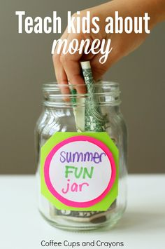 Teach kids about money with a summer fun jar! It's a simple, but effective way to get kids learning about saving and spending over the summer. Money Activities, Kids Learning Activities, Bonding Activities, Summer Activities, Family Activities, Good Parenting, Parenting Hacks, Teaching Kids Money, Summer Fun For Kids